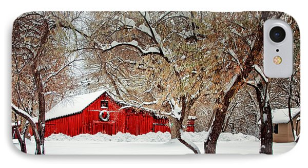 The Christmas Barn IPhone Case by Teri Virbickis