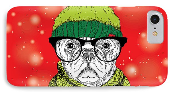 T Shirts iPhone 7 Case - The Christmas Poster With The Image Dog by Sunny Whale