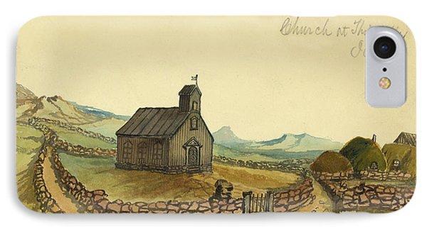 The Church At Thingvalla Iceland Circa 1862 Phone Case by Aged Pixel