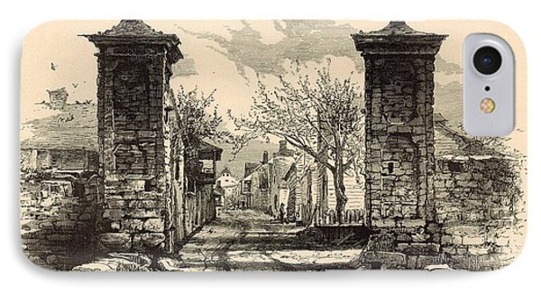 The City Gate - St. Augustine 1872 Engraving By Harry Fenn IPhone Case by Antique Engravings