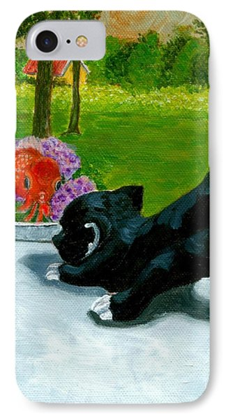 IPhone Case featuring the painting The Close Encounter Of A Cat And Fish by Jingfen Hwu