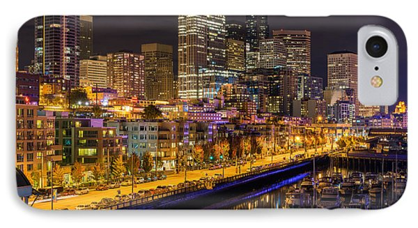 The Colors Of Night Lights In Seattle IPhone Case by Ken Stanback