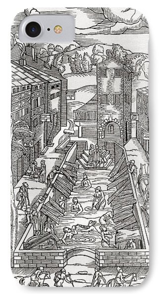 The Common Spa Of The Poor And Infirm In Plombiere, France.  After The Woodcut By Thomas Guinta De IPhone Case by Bridgeman Images