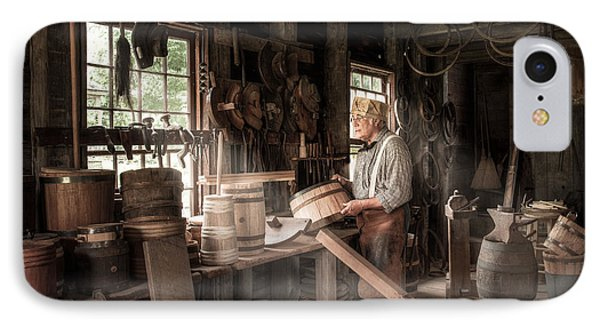 IPhone Case featuring the photograph The Cooper - 19th Century Artisan In His Workshop  by Gary Heller