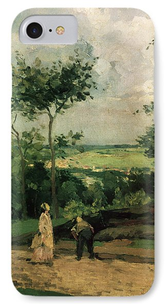 The Courtyard At Louveciennes IPhone Case by Camille Pissarro