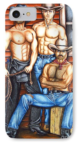 IPhone Case featuring the drawing The Cowboy Way by Joseph Sonday