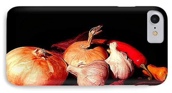 New Orleans Onions, Garlic, Red Chili Pepper Used In Creole Cooking A Still Life IPhone Case by Michael Hoard