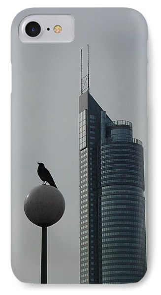 The Crow And The Milleniumtower In Winter IPhone Case by Menega Sabidussi