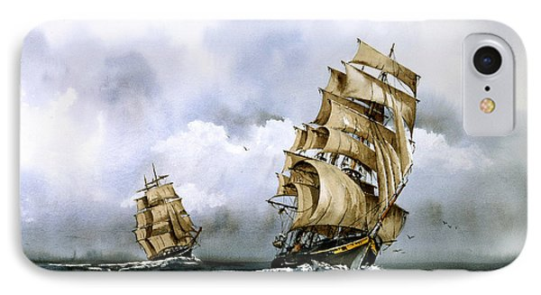 The Cutty Sark And The Red Clipper IPhone Case by Val Byrne