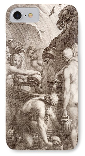 The Danaids Condemned To Fill Bored Vessels With Water Phone Case by Bernard Picart