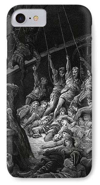 The Dead Sailors Rise Up And Start To Work The Ropes Of The Ship So That It Begins To Move IPhone Case by Gustave Dore