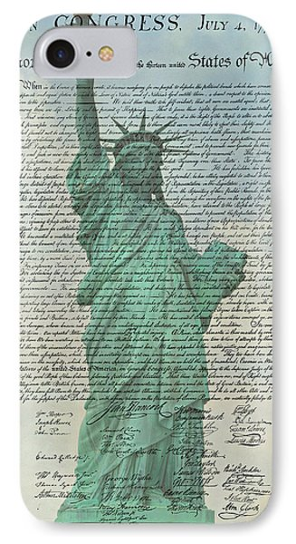 The Declaration Of Independence - Statue Of Liberty IPhone Case by Stephen Stookey