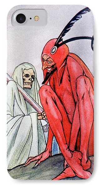 The Devil And Death. Illustration By Echea From La Esfera, 1914 IPhone Case