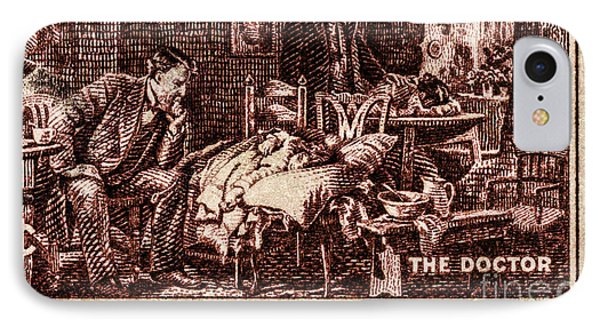 The Doctor - Concerned Physician Postage Stamp IPhone Case by Phil Cardamone