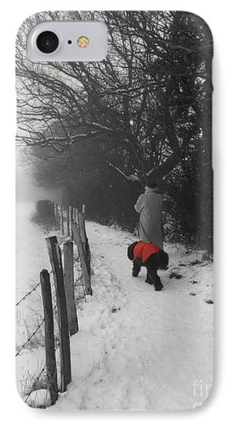 The Dog In The Red Coat IPhone Case by Vicki Spindler