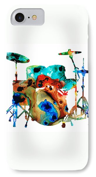 Drum iPhone 7 Case - The Drums - Music Art By Sharon Cummings by Sharon Cummings