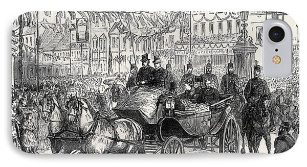 The Duke And Duchess Of Edinburgh At Ashford The Procession IPhone Case by English School