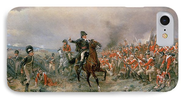 The Duke Of Wellington At Waterloo IPhone Case by Robert Alexander Hillingford