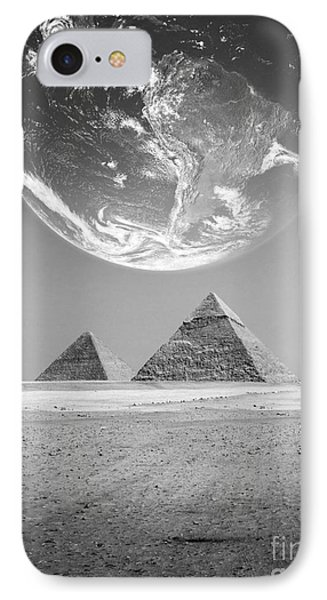 IPhone Case featuring the photograph The Earth With Egyptian Pyramids  by Mohamed Elkhamisy