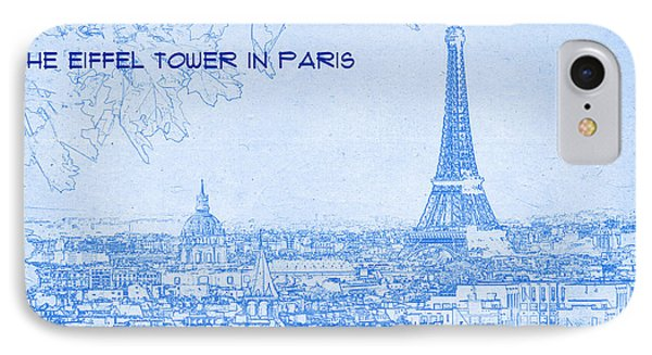The Eiffel Tower In Paris - Blueprint Drawing IPhone Case by MotionAge Designs