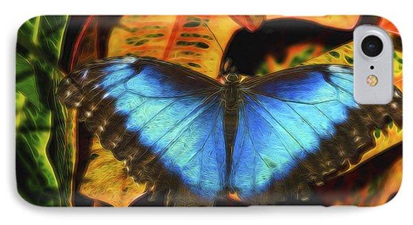 The Electric Blue Morpho Butterfly  IPhone Case by Saija  Lehtonen