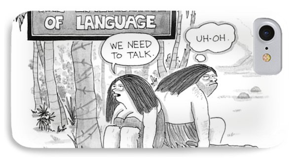 The Emergence Of Language Cave Woman: 'we Need IPhone Case by Leo Cullum