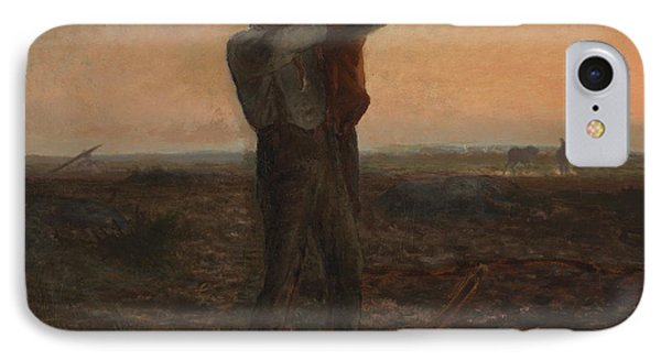 The End Of The Day Effect Of Evening  Phone Case by Jean-Francois Millet
