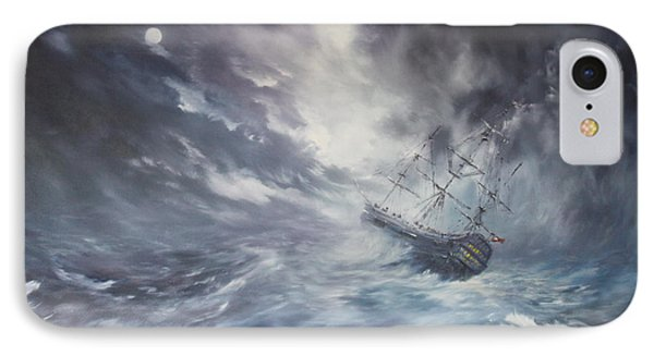 The Endeavour On Stormy Seas IPhone Case by Jean Walker