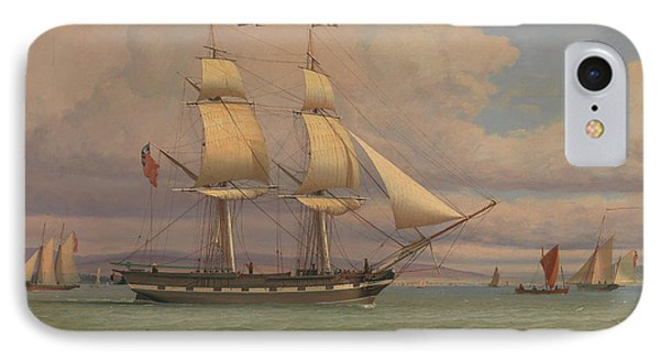 The English Brig Norval Before The Wind IPhone Case by William Clark