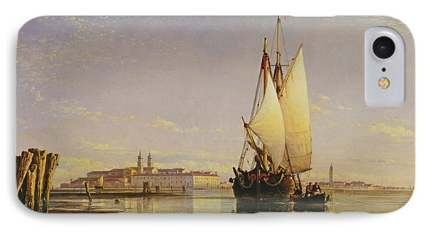 The Euganean Hills And The Laguna Of Venice - Trabaccola Waiting For The Tide Sunset Phone Case by Edward William Cooke