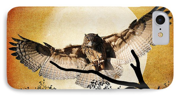The Eurasian Eagle Owl And The Moon IPhone Case by Kathy Baccari