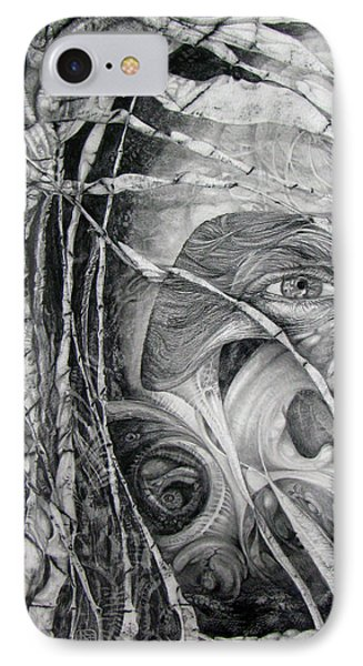 IPhone Case featuring the drawing The Eye Of The Fomorii - Regrouping For The Battle by Otto Rapp