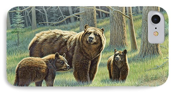 The Family - Black Bears Phone Case by Paul Krapf