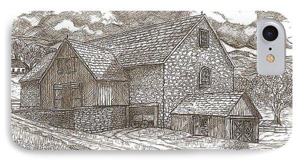 The Family Farm - Sepia Ink Phone Case by Carol Wisniewski