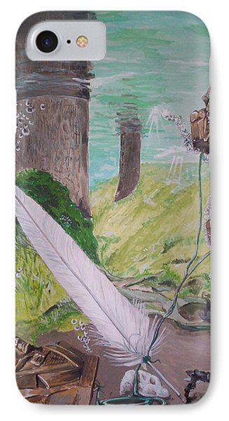 IPhone Case featuring the painting The Feather And The Word La Pluma Y La Palabra by Lazaro Hurtado