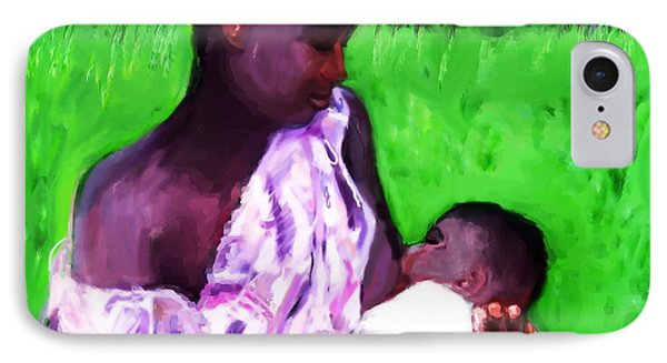 IPhone Case featuring the painting The Feeding 2 by Vannetta Ferguson
