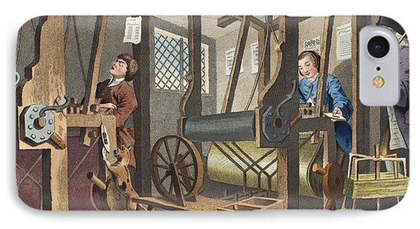 The Fellow Prentices At Their Looms IPhone Case by William Hogarth