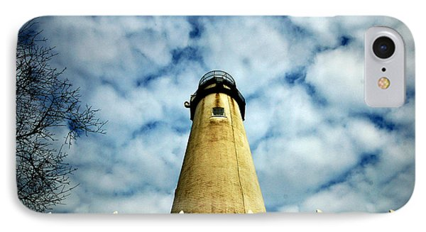 The Fenwick Light And A Mackerel Sky IPhone Case by Bill Swartwout