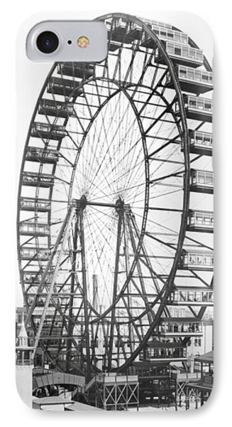 The Ferris Wheel At The Worlds Columbian Exposition Of 1893 In Chicago Bw Photo IPhone Case