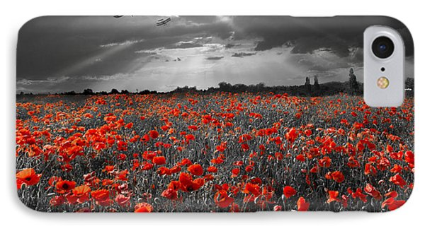 The Final Sortie Aircraft Over Field Of Poppies Wwi Version IPhone Case