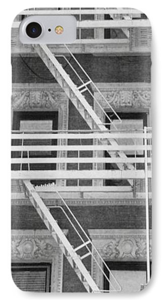 The Fire Escape In Black And White Phone Case by Rob Hans