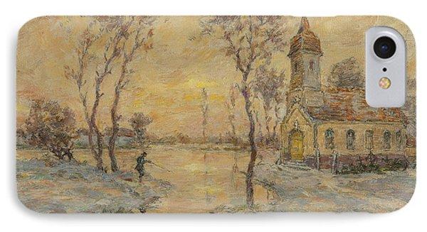 The Fishermens Chapel Under Snow IPhone Case by Henri Duhem