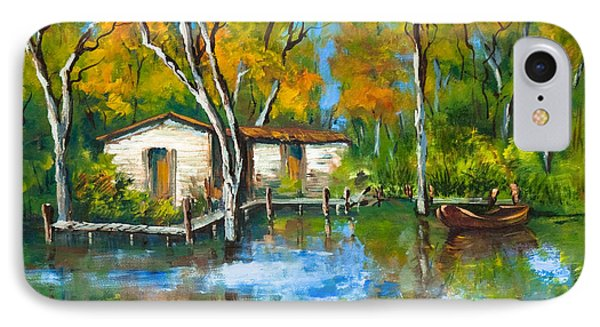IPhone Case featuring the painting The Fishing Camp by Dianne Parks