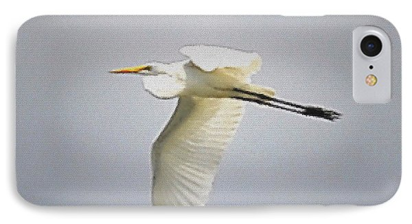 The Flight Of The Great Egret With The Stained Glass Look IPhone Case by Verana Stark