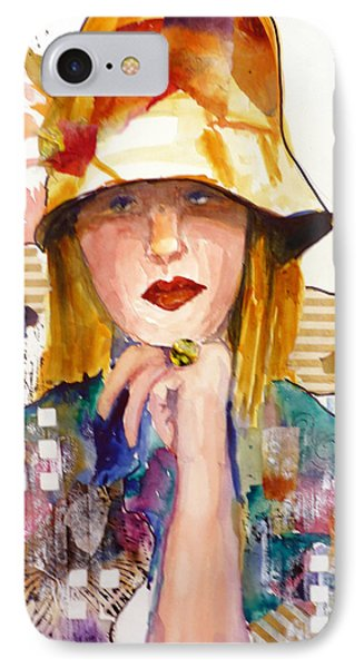 IPhone Case featuring the mixed media The Flowered Hat by P Maure Bausch