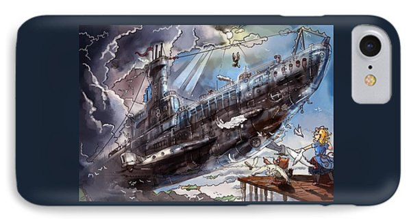 The Flying Submarine Phone Case by Reynold Jay