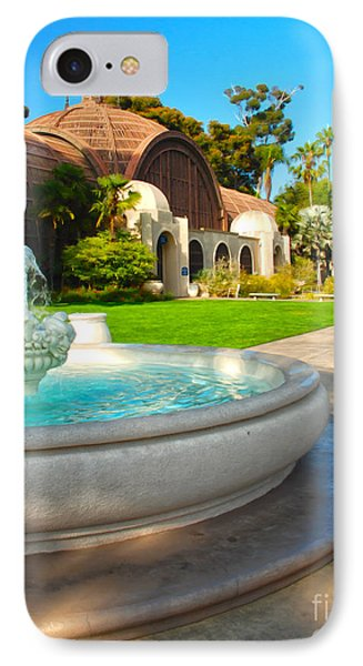 Botanical Building And Fountain At Balboa Park IPhone Case by Claudia Ellis