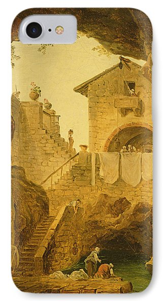 The Fountain Under The Grotto Oil On Canvas IPhone Case by Hubert Robert