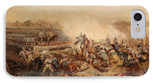 The Fray Between Prussian And Austrian Cuirassiers Infantrymen IPhone Case