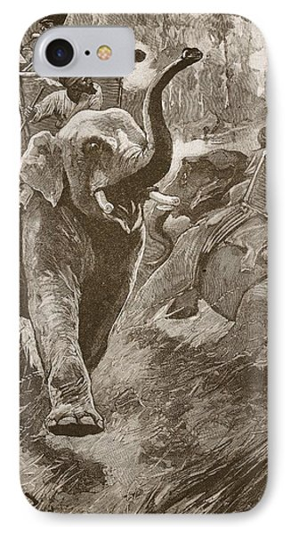 The Frightened Elephants Rushed Back IPhone Case by Stanley L. Wood
